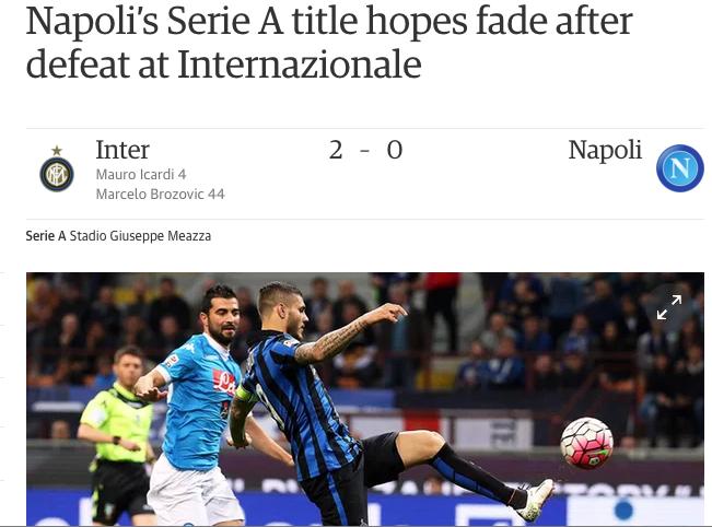 La stampa estera annuncia l'addio del Napoli allo scudetto (c'è spazio anche per Reina)