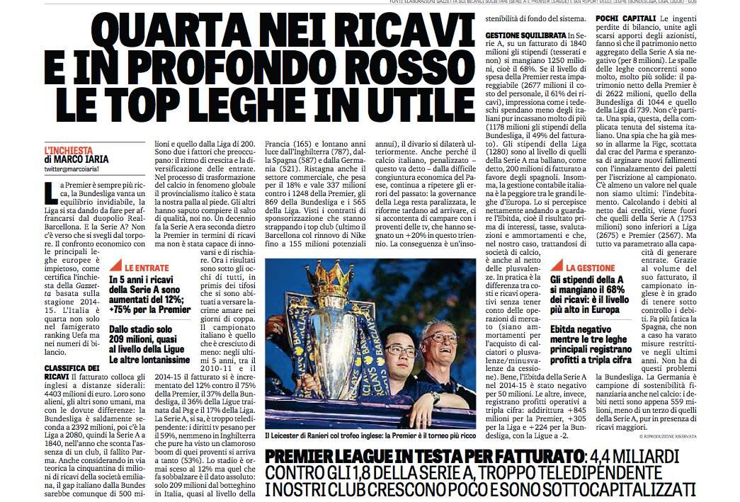 Il torpore della Serie A, ultima tra le leghe europee: crescita del +12% negli ultimi 5 anni