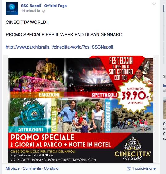 Il Napoli invita i tifosi a trascorrere San Gennaro a Cinecittà World, a Roma. Insulti su Facebook