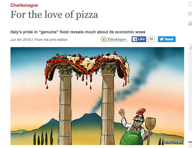 L'Economist bacchetta Napoli e l'Italia: «L'orgoglio per la pizza rivela il rifiuto della globalizzazione»