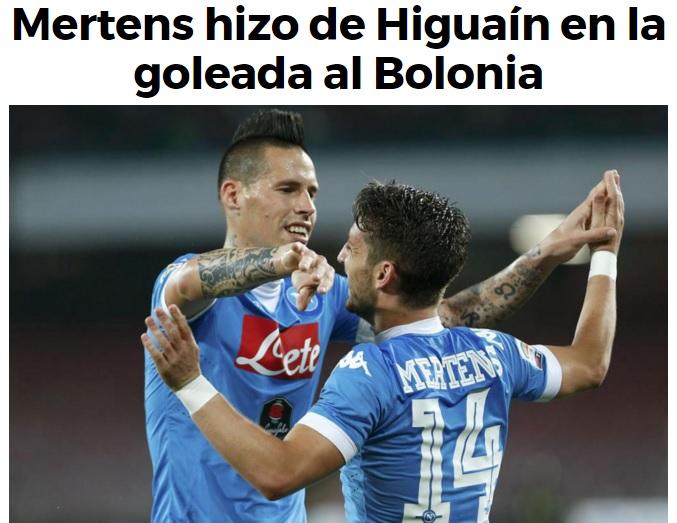 Napoli-Bologna all'estero è tutta di Gabbiadini e Mertens: il belga 'fa' Higuain con la sua tripletta