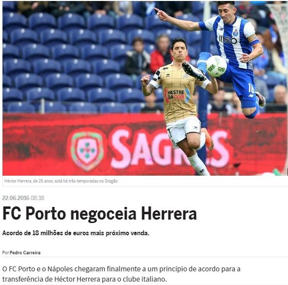 Sul sito del Porto non c'è più Herrera (poi è ricomparso)