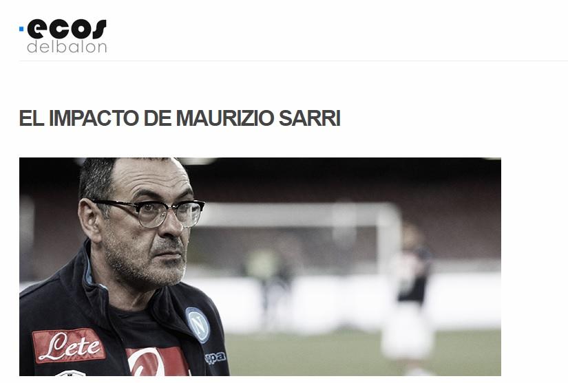L'impatto di Sarri secondo L'Ecos del Balon: «Con lui, la maggior parte dei giocatori sono migliorati»