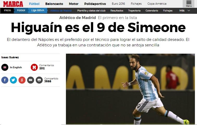 La nuova destinazione di Higuain te la dice Marca: il Pipita è il 'prescelto' di Simeone per l'Atletico