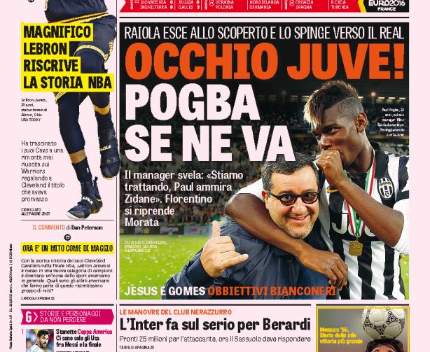 Se il mercato del Napoli è fatto di rifiuti, quello della Juve gioca sull'addio di Pogba