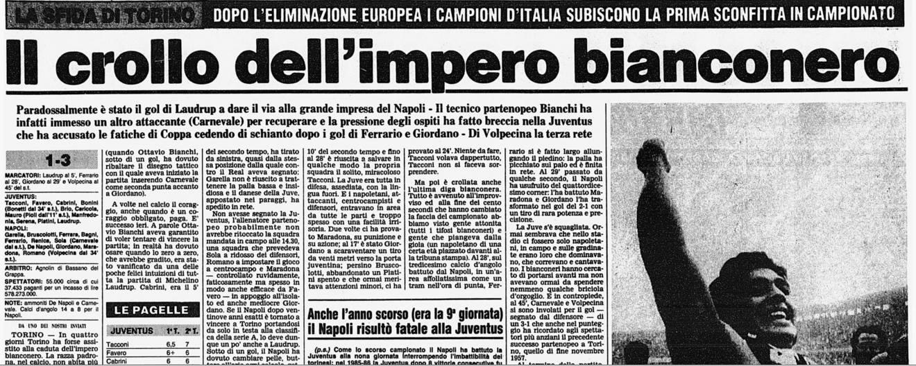 Juventus-Napoli 1-3: Maradona mette a nudo il re Platini