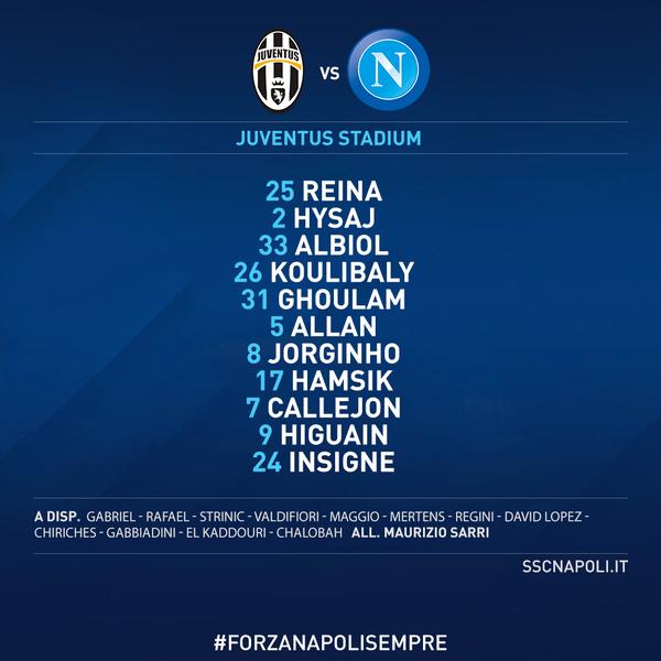 Juve-Napoli, le formazioni ufficiali. Sarri sceglie i titolarissimi, Allegri ritrova Khedira