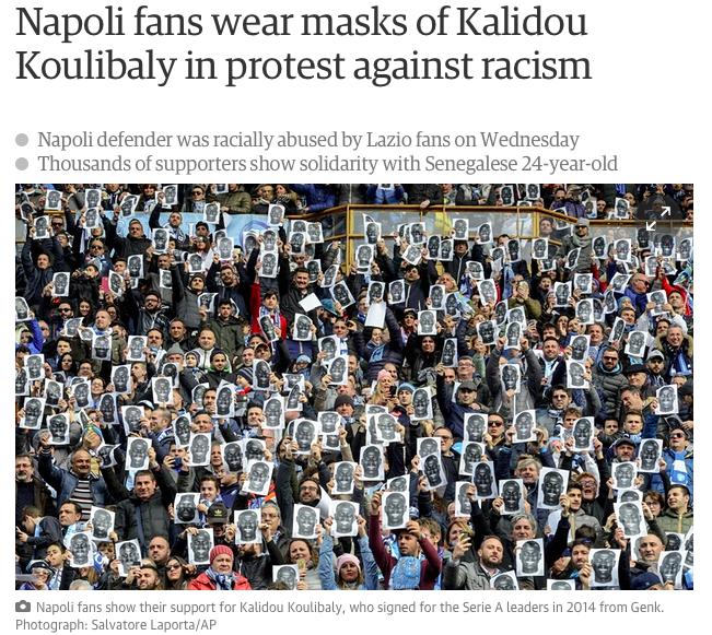 La stampa d'Europa celebra l'iniziativa antirazzista dei tifosi del Napoli per Koulibaly
