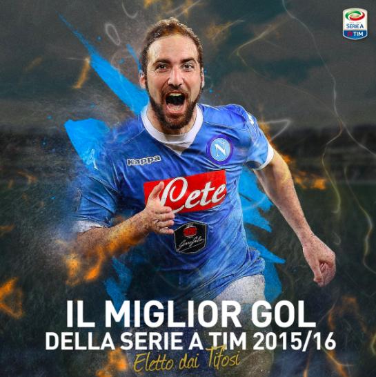 Rovesciata di Higuain contro il Frosinone miglior gol della stagione 2015-2016