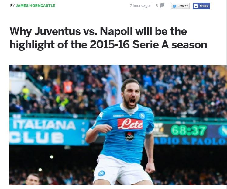 Juve-Napoli, leggi e senti Horncastle: «Non è il Super Bowl, ma una delle più belle partite della stagione»