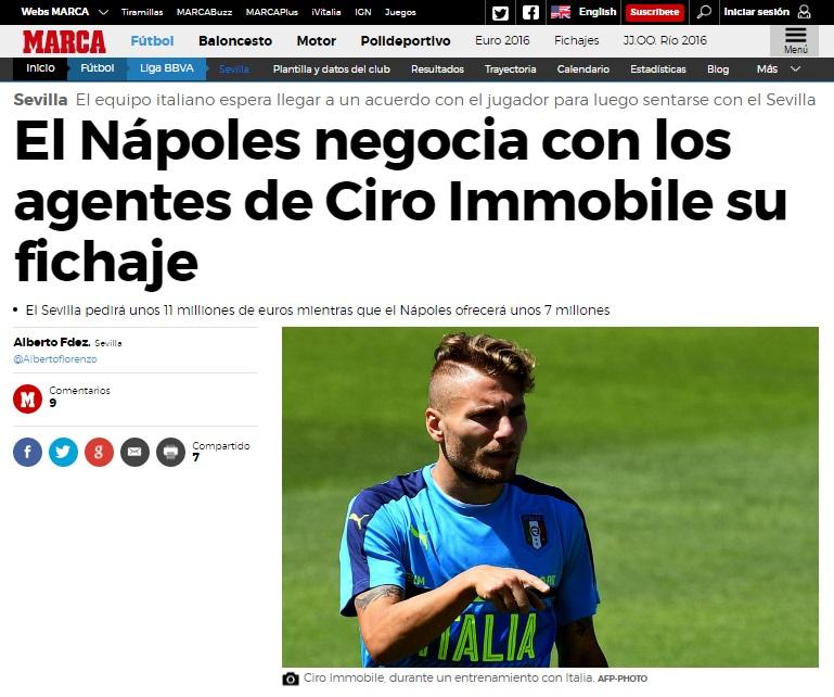 La bomba di Marca: gli agenti di Immobile trattano con il Napoli