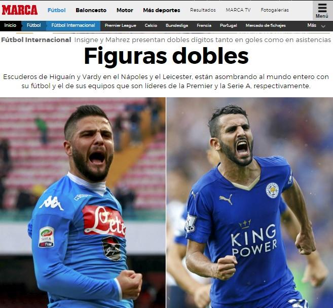 Per Marca, Mahrez come Insigne: i due «scudieri di Vardy e Higuain» sono gli unici calciatori in Europa in doppia cifra per gol e assist