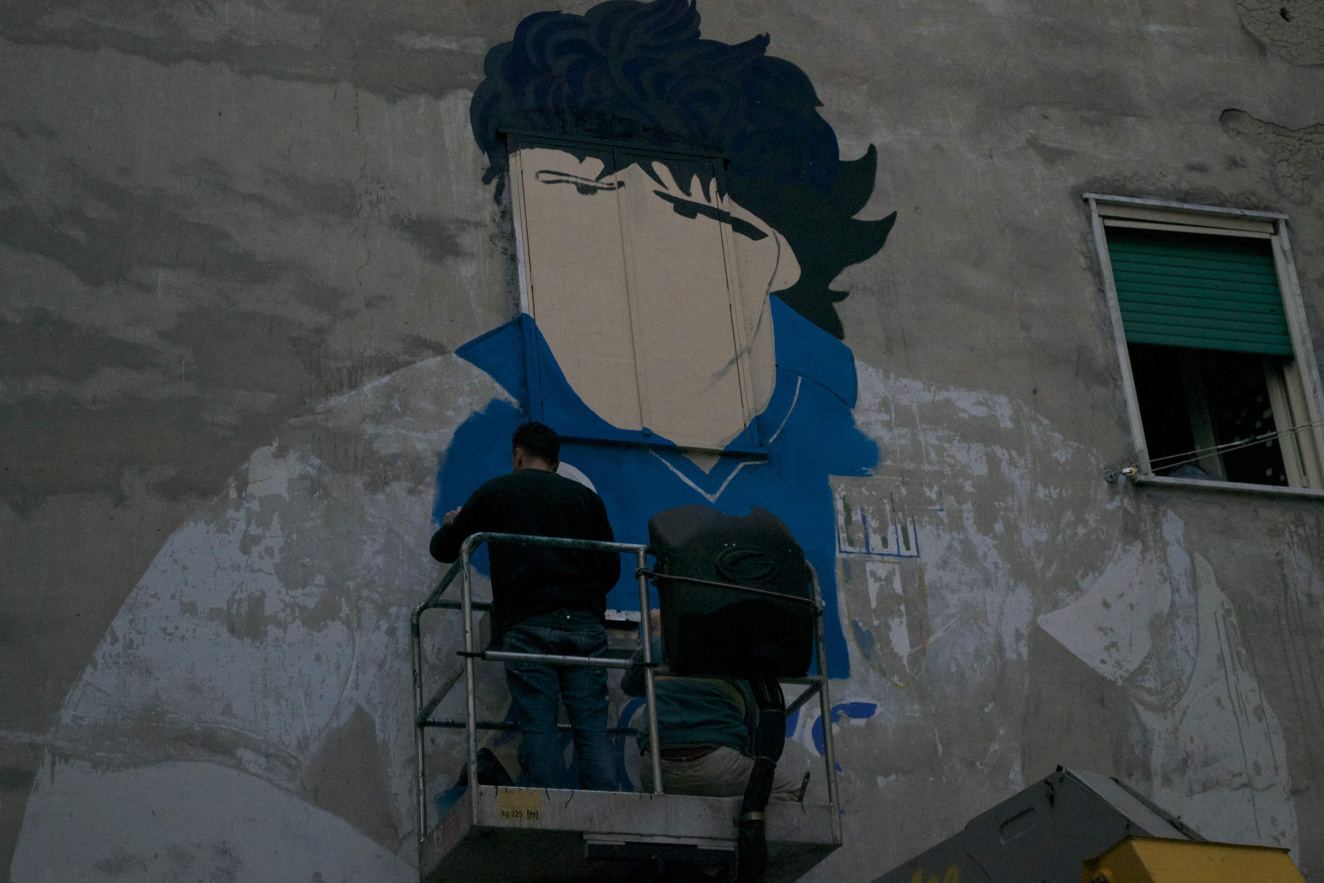 Naples, Maradona's coming back. It's began the restoration of Maradona's mural