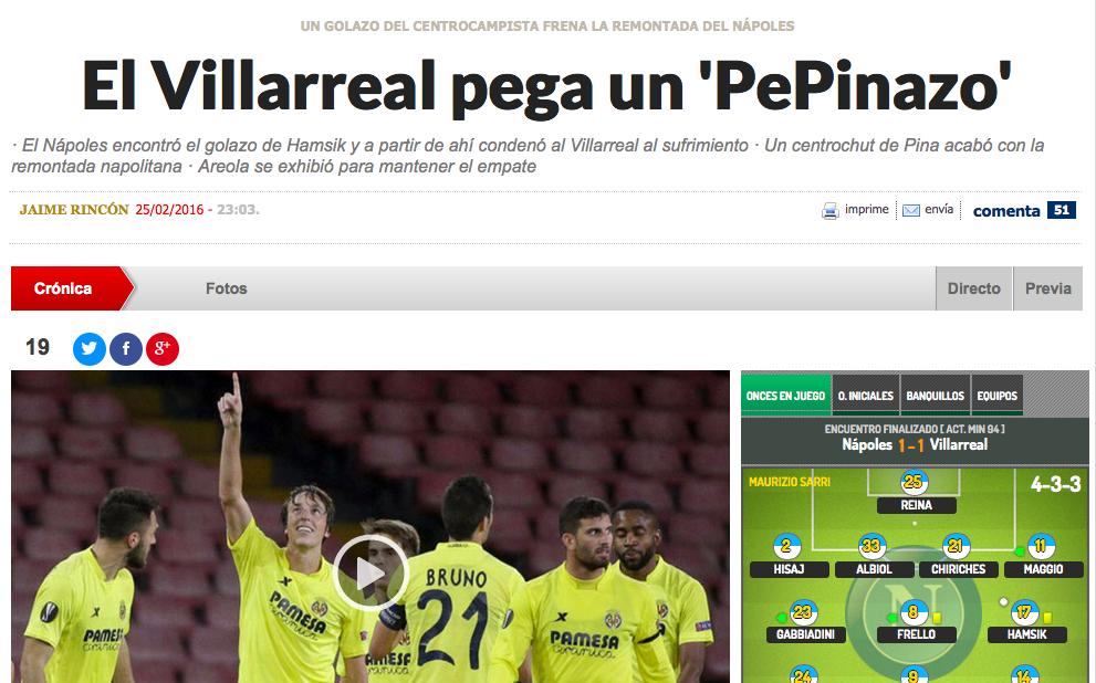 La stampa spagnola elogia il Villarreal e il gol del PePinazo