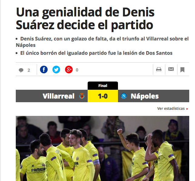 La stampa spagnola: «Per fortuna del Villarreal, l'obiettivo del Napoli non è l'Europa League»