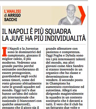 Arrigo Sacchi: al Napoli serve un'impresa, alla Juve una buona partita