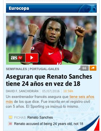 Il portoghese Renato Sanches avrebbe 24 anni e non 19