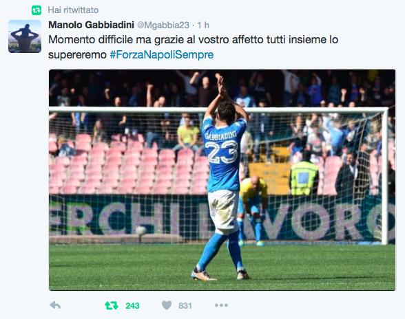 Il tweet di Gabbiadini e l'incoraggiamento dei tifosi del Napoli