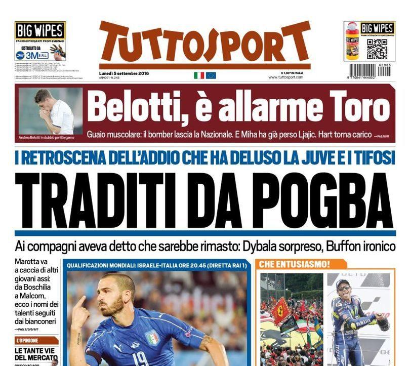 f66f671135 Un mese dopo l'addio di Pogba, la Juventus e Tuttosport scoprono la retorica