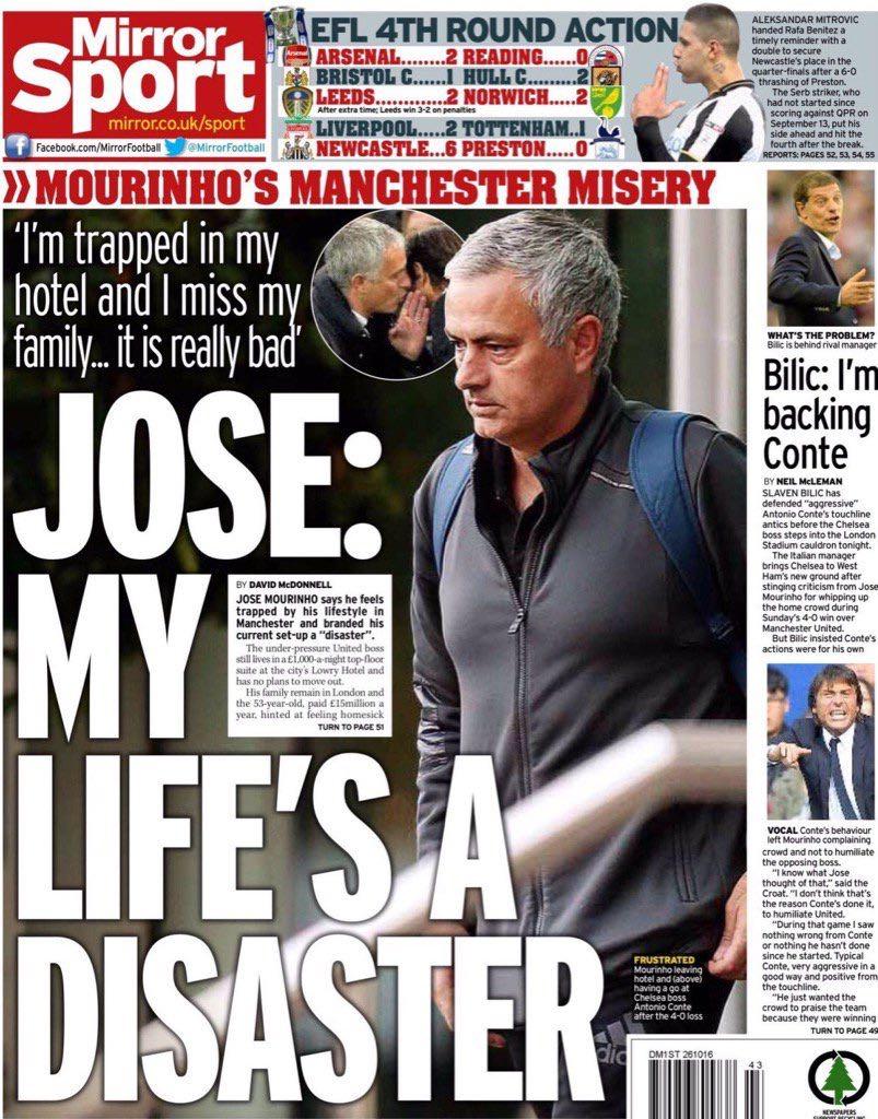 Mourinho: «La mia vita a Manchester è un disastro»