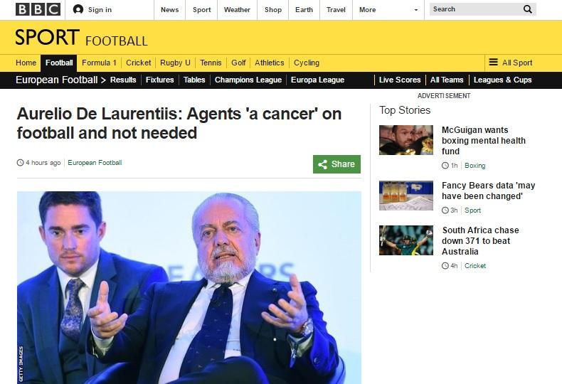 De Laurentiis che definisce procuratori «cancro del calcio» colpisce la stampa estera