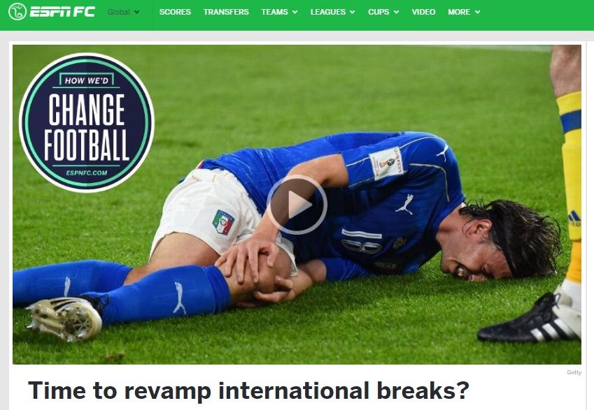 Le proposte di Espnfc per migliorare il calcio: c'è anche l'eliminazione del break per le nazionali