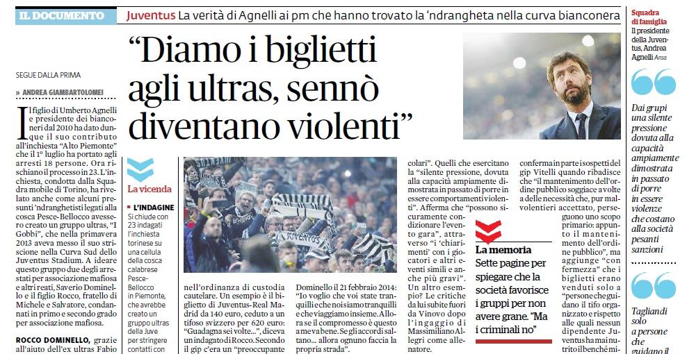 Agnelli sull'indagine Juventus Stadium-'Ndrangheta: «Biglietti ai gruppi per stare tranquilli»