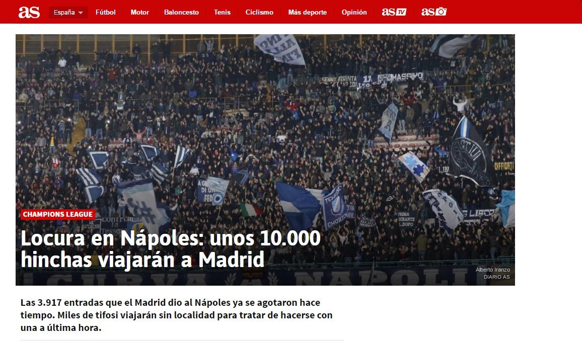 """As scrive un altro pezzo sulla """"locura"""" dei napoletani per il match col Madrid: in 10mila nella capitale spagnola"""