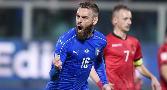 Italia, missione compiuta: 2-0 all'Albania, segnano De Rossi e Immobile