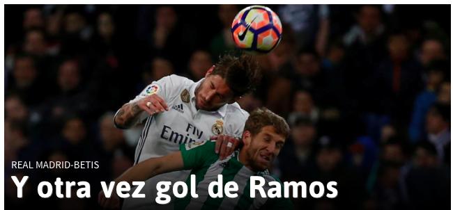 Toh, Sergio Ramos segna di nuovo di testa su calcio d'angolo