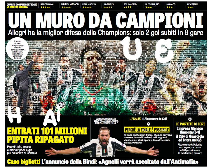 La differenza tra la Juventus e il Napoli sui quotidiani di un giorno qualunque