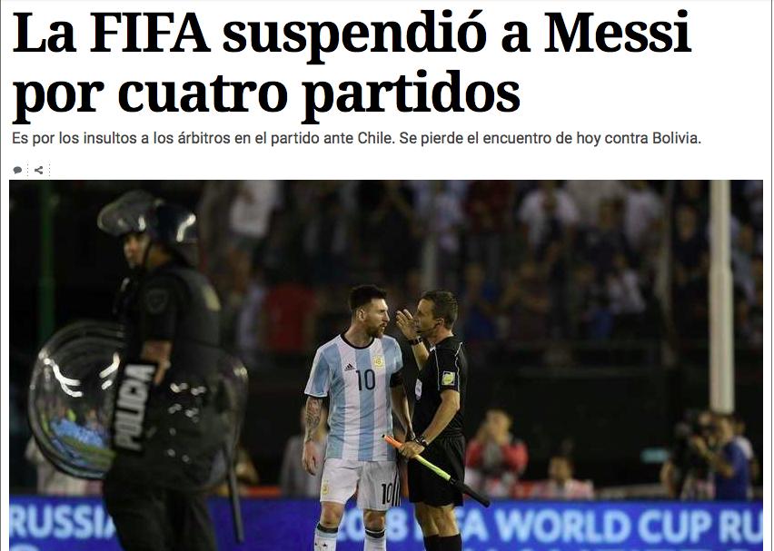 Messi, quattro giornate di squalifica per insulti al guardalinee di Argentina-Cile