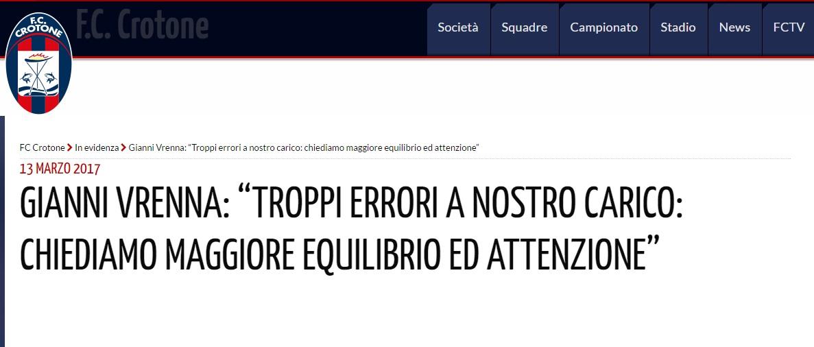 La nota del Crotone contro l'arbitraggio: «Non è la prima volta, esigiamo rispetto»
