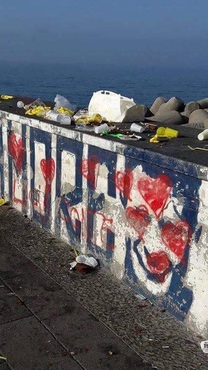 Portici, il murales di Ciro Esposito imbrattato da scritte e cuoricini