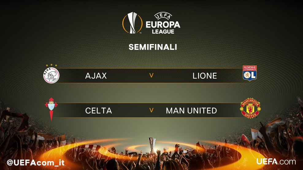 Europa League, per il Manchester United c'è il Celta in semifinale