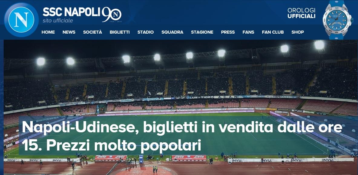 Napoli-Udinese, i prezzi dei bigilietti: curve a 12 euro, Distinti a 14 euro
