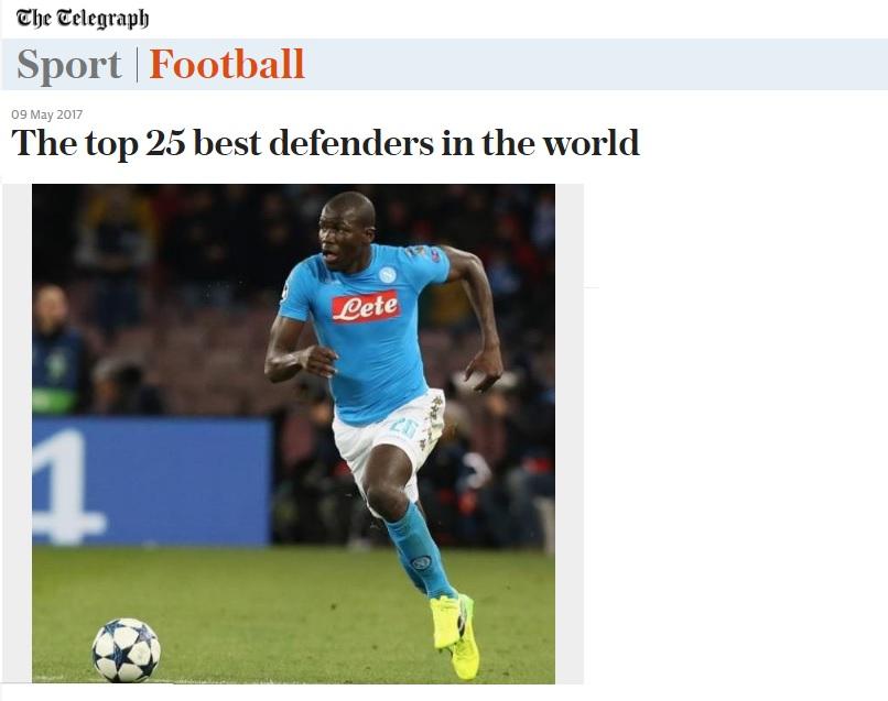 Telegraph: Koulibaly è il 18esimo difensore più forte del mondo (in testa Bonucci)