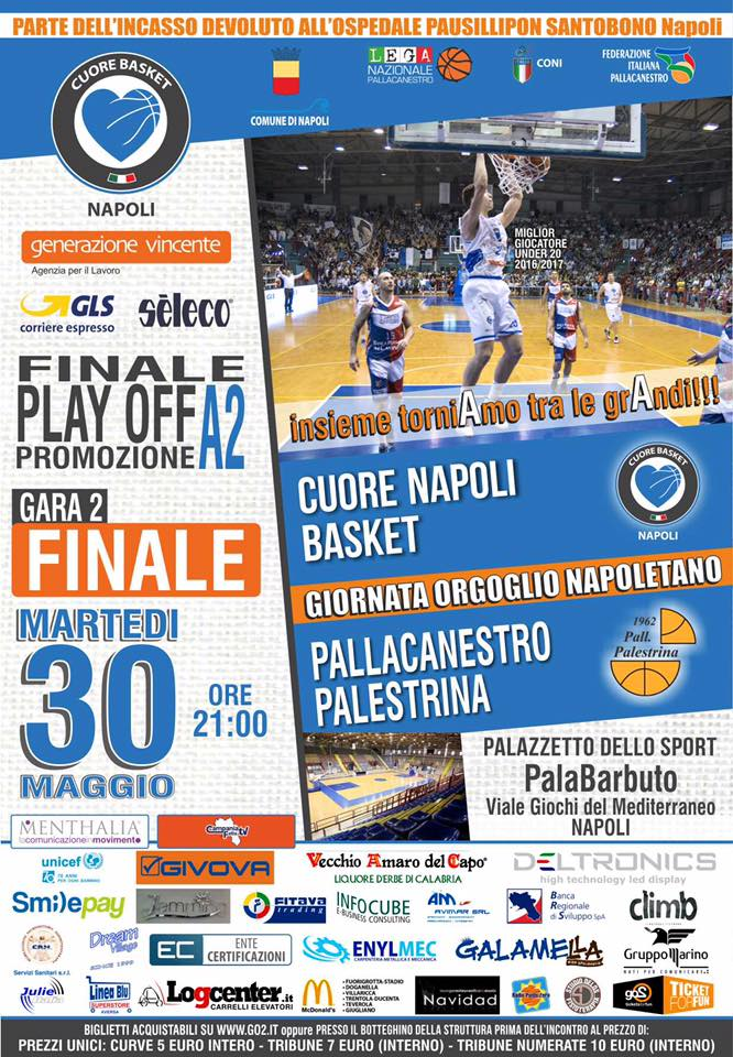 Cuore Napoli Basket: parte dell'incasso di gara 2 (stasera) per i bimbi del Santobono Pausilipon