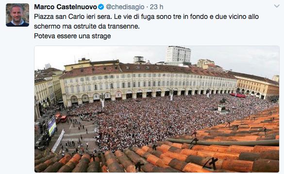 Caos piazza San Carlo, 38enne ricoverata e' in fin di vita