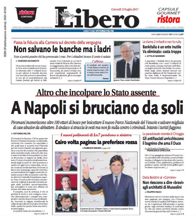 Il Vesuvio e la scarsa stima di Vittorio Feltri per i (pochi) lettori di Libero