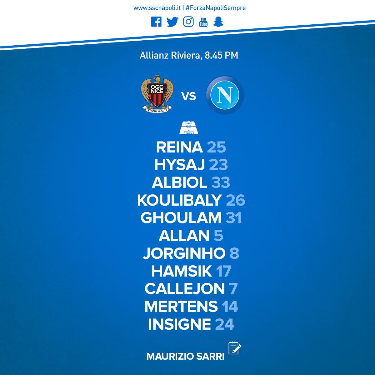 Nizza-Napoli, le formazioni ufficiali: Mertens c'è, Sneijder e Balotelli titolari