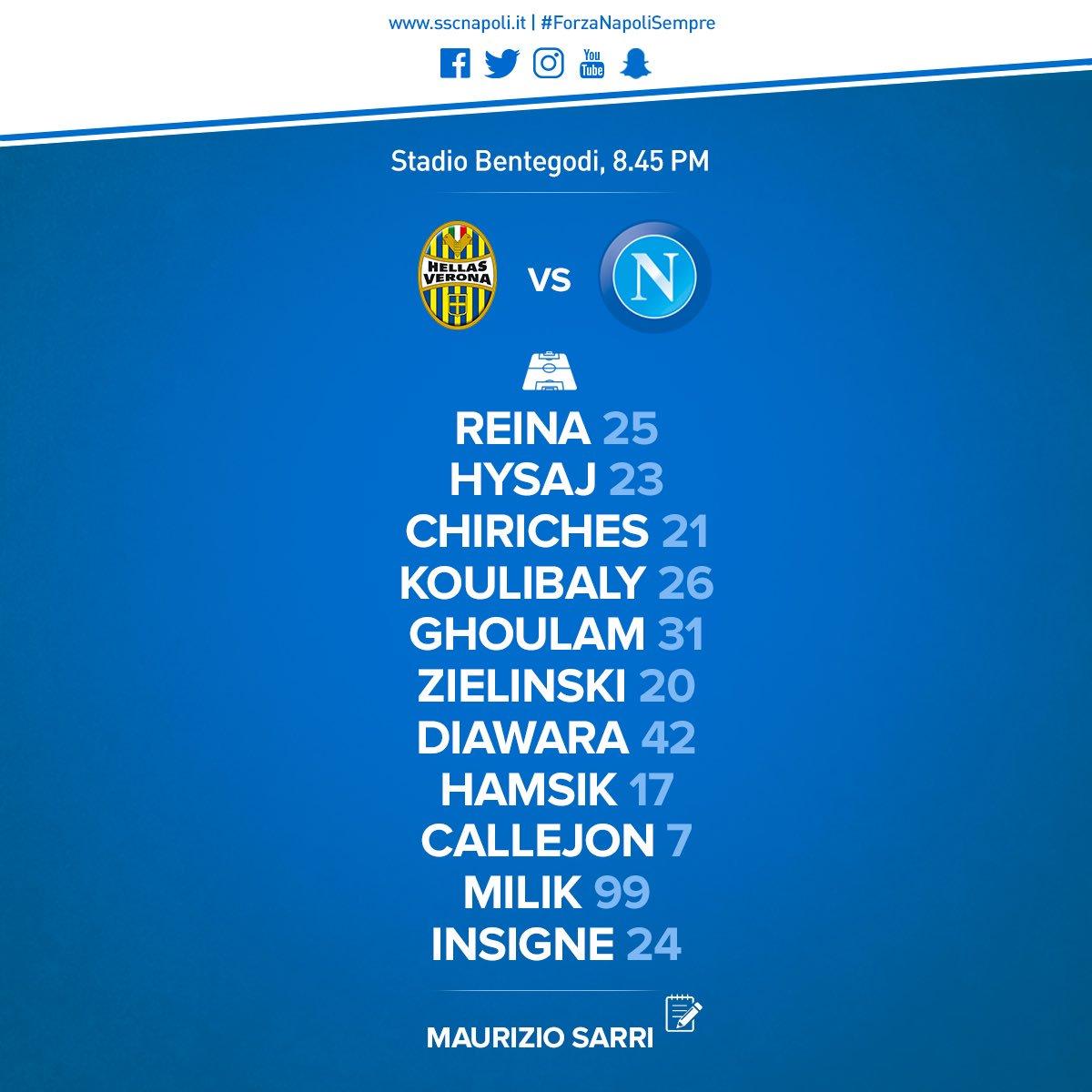 Verona-Napoli, formazioni ufficiali: gioca Milik, Mertens in panchina. Napoli in maglia azzurra