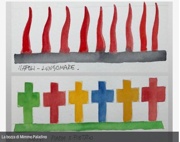 Mimmo Paladino propone corni rossi sul Lungomare di Napoli in chiave antiterrorismo