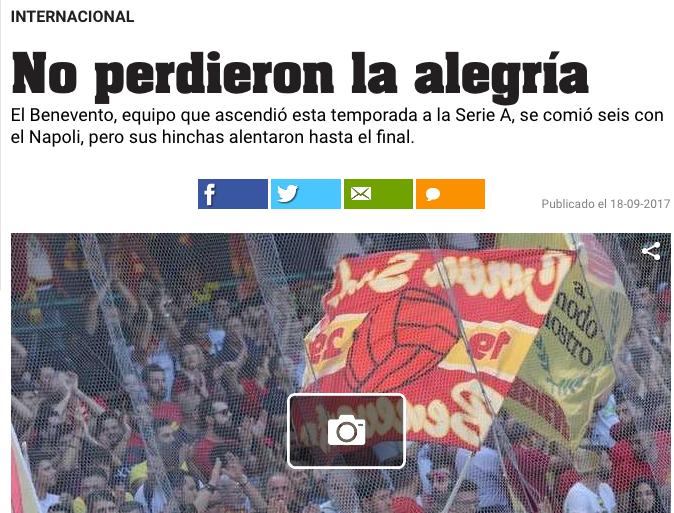 Il Benevento è in difficoltà, i suoi tifosi invece vengono elogiati in Argentina