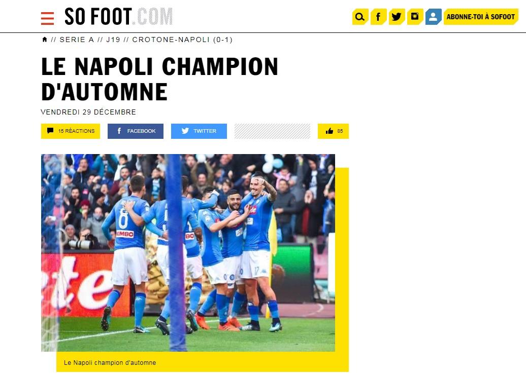 I giornali stranieri celebrano il titolo d'Inverno del Napoli