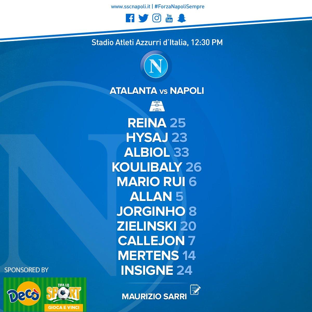 Atalanta-Napoli, le formazioni ufficiali: Hamsik fuori, Zielinski titolare