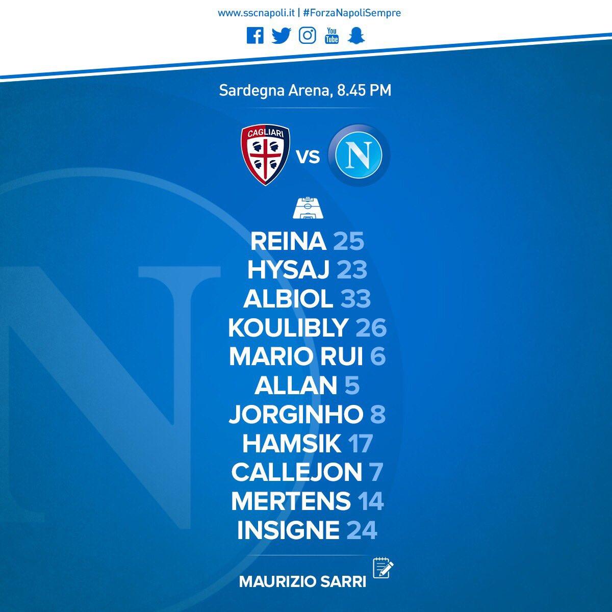Cagliari-Napoli, le formazioni ufficiali: Sarri sceglie i titolarissimi, Mario Rui c'è