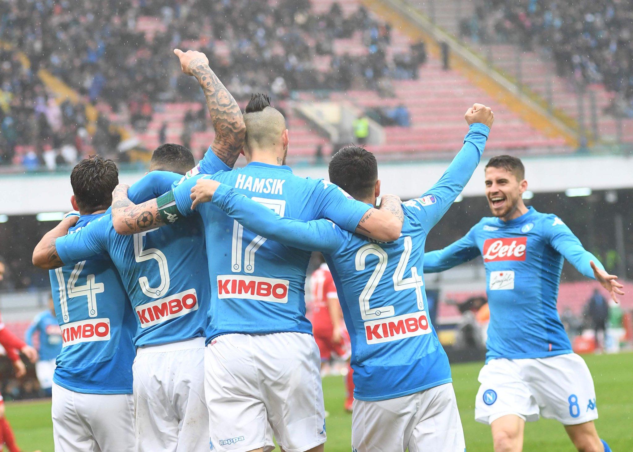Napoli-Spal è la nona vittoria di fila, è il record di sempre in un solo campionato