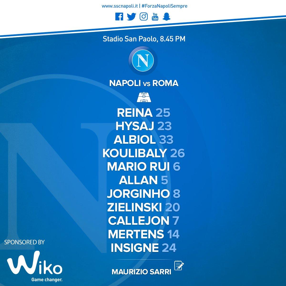 Napoli-Roma, le formazioni ufficiali: Hamsik in panchina, gioca Zielinski