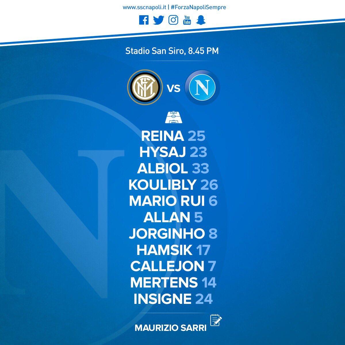 Inter-Napoli, le formazioni: Sarri e i titolarissimi, Spalletti con Rafinha e Brozovic